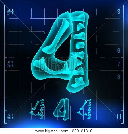 4 Number Vector. Four Roentgen X-ray Font Light Sign. Medical Radiology Neon Scan Effect. Alphabet.