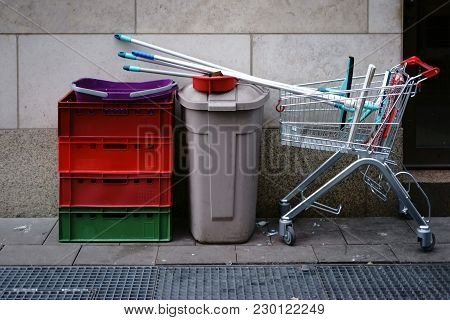 The Cleaning Utensils Of A Window Cleaner And Cleaning Power In A Shopping Cart.