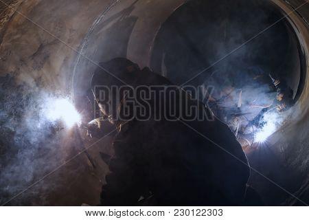Welder Weld Root Weld From Inside Of Big Pipe