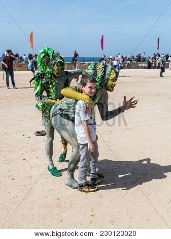 Caesarea, Israel, March 03, 2018 : Participants Of The Festival Dedicated To Purim Dressed In Fairy-