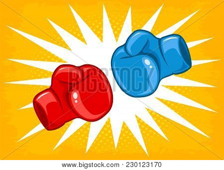 Vector Retro Poster For A Boxing With Two Gloves. Retro Emblem For Boxing With Red And Blue Gloves.