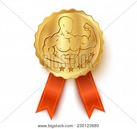 Vector Golden Medal For Bodybuilding. Golden Medal Template With Illustration Of A Bodybuilder.