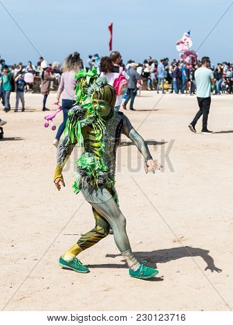 Caesarea, Israel, March 03, 2018 : A Festival Participant Dedicated To Purim Dressed In A Fairy-tale