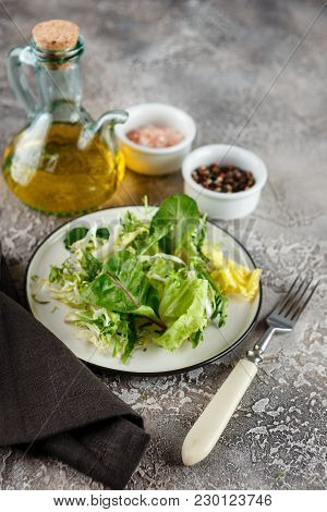 Fresh Green Mix Salad With Romaine, Frisee And Chard Lettuce Leaves