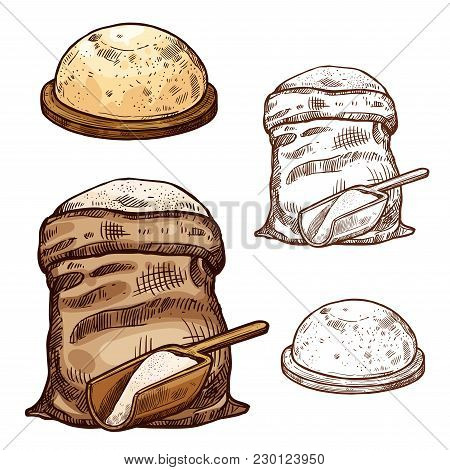 Baking Flour Bag And Bread Sketch Icons For Bakery Shop Or Product Package Design Template. Vector I
