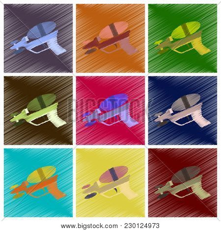 Assembly Flat Shading Style Icons Toy Gun