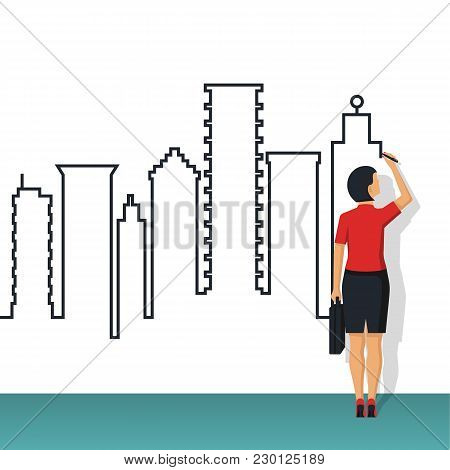 Big City Line. Businesswoman In Suit With Briefcase. High Buildings On Background. Vector Illustrati
