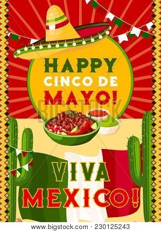 Happy Cinco De Mayo Greeting Card With Mexican Flag And Fiesta Party Food. Festive Sombrero Hat, Chi