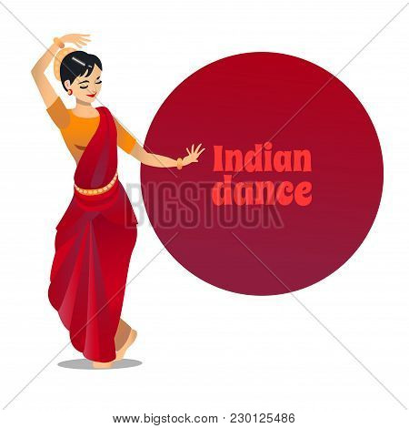 Indian Dance. Dancing Girl In Cartoon Style For Fliers Posters Banners Prints Of Dance School And St