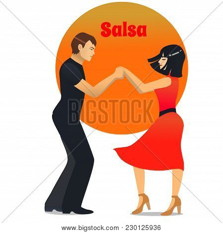 Salsa Dancers. Dancing Couple In Cartoon Style For Fliers Posters Banners Prints Of Dance School And