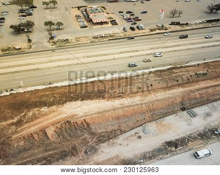 Construction Of Elevated Highway In Progress In Houston, Texas, Usa