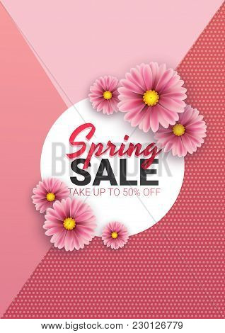 Spring Sale Floral Advertizing Poster, Board. Banner With Realistic Flowers. Vector Illustration