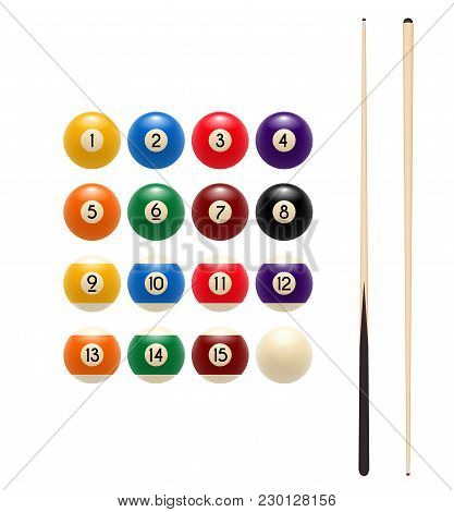 Pool Or American Billiards Balls With Numbers And Cues. Vector Icon Of Snooker Colored Balls And Woo