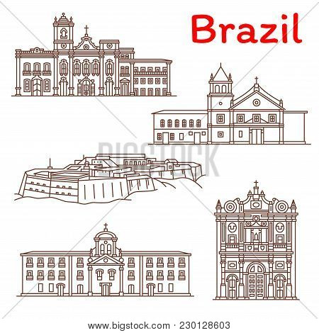 Brazil Architecture Landmarks And Sightseeing Building Line Icons. Vector Set Of Brazilian Church Of