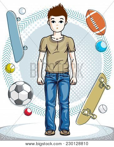 Beautiful Little Boy Cute Child Standing Wearing Casual Clothes. Vector Attractive Kid Illustration.