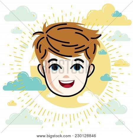 Boy Face, Vector Human Head Illustration, Portrait. Red-haired Teenager Expressing Positive Emotions