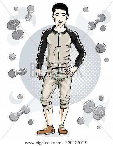 Handsome Brunet Young Man Is Standing On Simple Background With Dumbbells And Barbells. Vector Illus