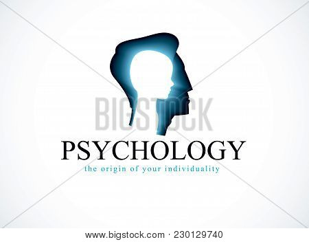Psychology Vector Logo Created With Man Head Profile And Little Child Boy Inside, Inner Child Concep
