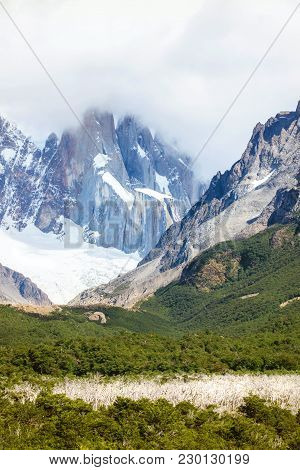 The 3 Spires Of Cerro Torre, Seen From The Trail, Below. The Argentna Region Of Patagonia