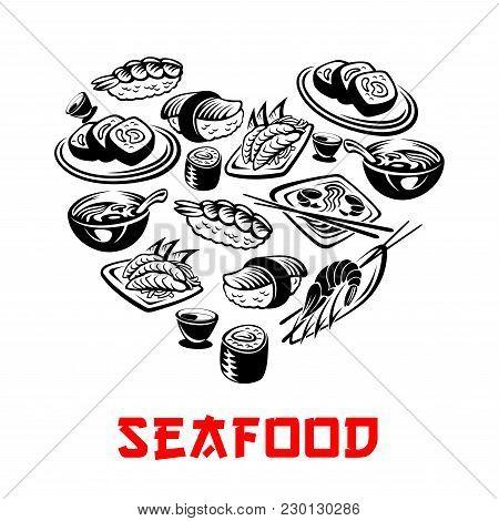 Japanese Sushi Bar Or Asian Seafood Restaurant Heart. Vector Icons Of Japan Cuisine Sushi Rolls, Shr