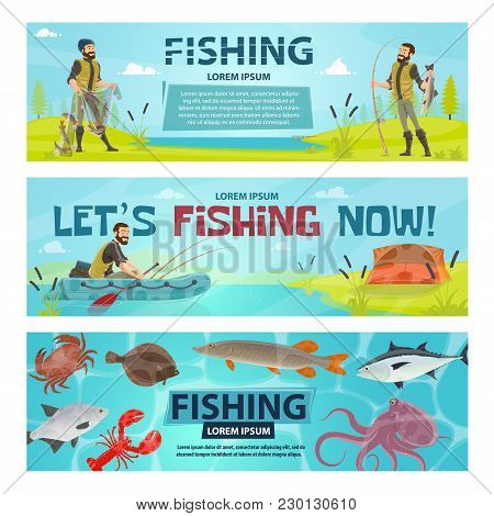 Fishing Sport Banners Design Of Fisherman On Fishing With Rod In Inflatable Boat. Vector Flat Design