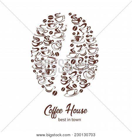 Coffee Bean Poster Of Coffee Cup Icons For Coffeehouse Or Cafe And Cafeteria. Vector Design Template