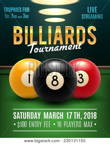 Pool Billiards Tournament Announcement Poster Template Of Color Balls And Snooker Cues On Green Tabl