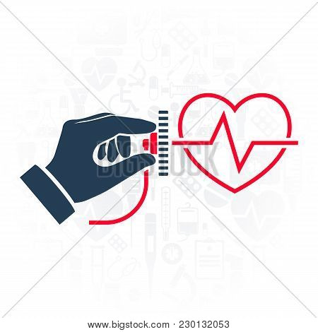 Cardiology Concept. Cardiologist Doctor. Stethoscope Hold In Hand Icon. Silhouette Heart With Life L