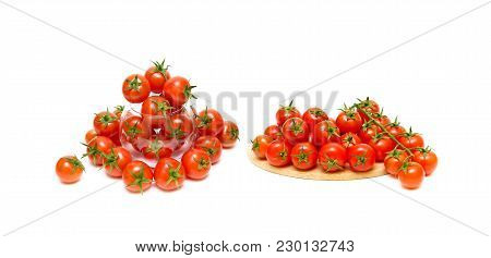 Ripe Cherry Tomatoes Isolated On White Background. Horizontal Photo.