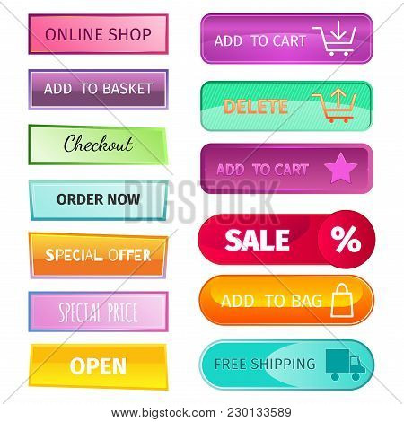 Web Elements Shop Buttons Design Sign. Buy Element And Label Cart Business Banner Symbol Graphic. Na