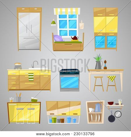 Kitchen Interior Vector Furniture And Home Appliance Of Dining Room In Furnished Interior Illustrati