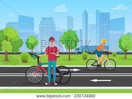 Vector Illustration Of Cyclists In The Park. Man Cyclist Using His Phone. Cyclists Walking In The Ci