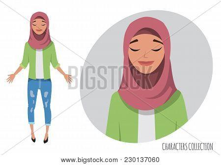 Beautiful Young Arabian Woman Relax And Enjoy. Women Praying