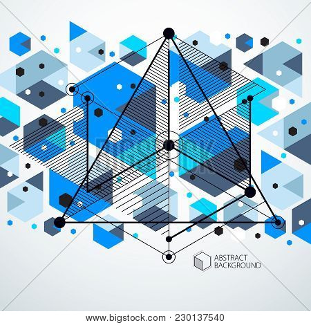 Mechanical Scheme, Blue Vector Engineering Drawing With 3d Cubes And Geometric Elements. Engineering