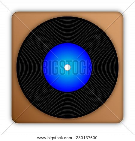 Vector Illustration Black Plate With Blue Center On Brown Background Close-up.