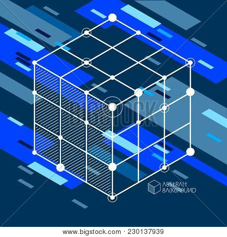 Vector Abstract Blue Black Background Created In Isometric Mesh Lines Style. Mechanical Scheme, Vect
