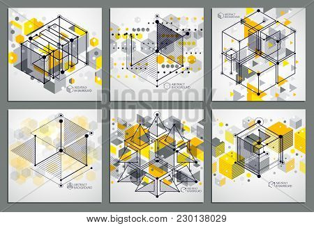 Mechanical Scheme, Yellow Vector Engineering Drawings Set With 3d Cubes And Geometric Elements. Engi