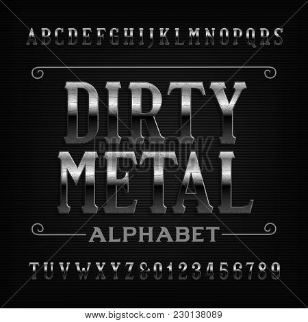 Vintage Metal Alphabet Font. Scratched Letters And Numbers. Stock Vector Typeface For Your Design.