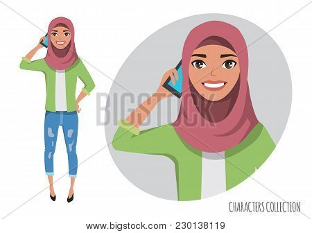 Arab Women Character Is Talking On The Phone. Vector Character In Cartoon Style. Muslim Woman Wearin