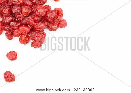 Red Dry Cherries Top View Isolated On White Background Left Corner