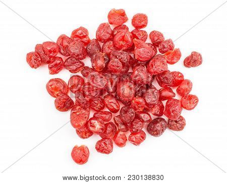 Red Dry Cherries Top View Isolated On White Background