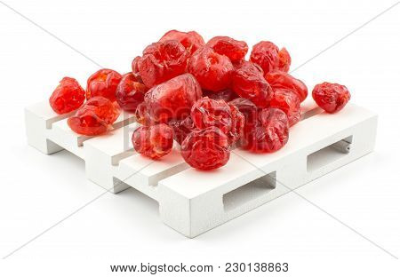 Red Dry Cherries On A Pallet Isolated On White Background