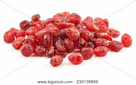 Red Dry Cherries Isolated On White Background