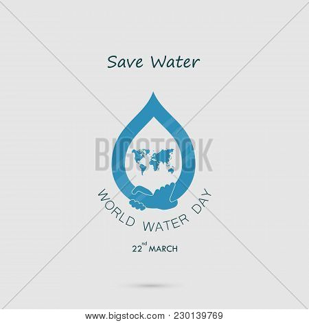 Water Drop With World Icon And Human Hand Vector Logo Design Template.world Water Day Icon.world Wat