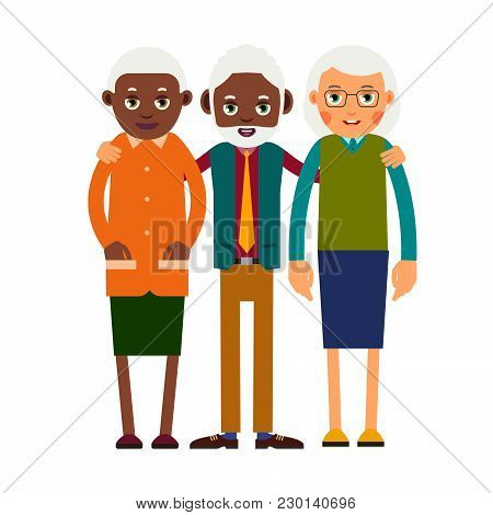 Group Older People. Three Aged People Stand. Elderly Men And Women Stand Together And Hug Each Other