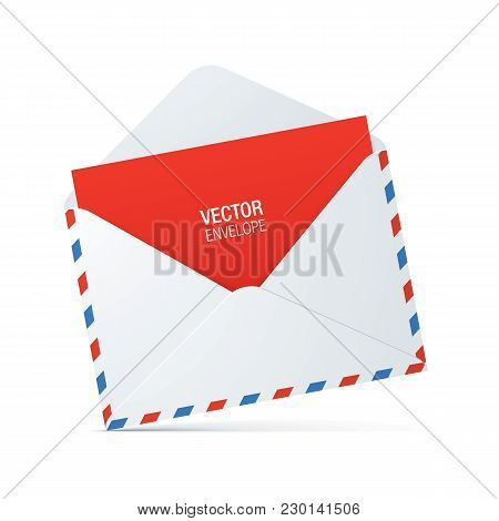 White, Vintage Style Opened Envelope With Red And Blue Stroke And Red Letter, Standing On A White Su