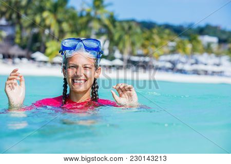 Beach Vacation Snorkel Girl Snorkeling With Mask.