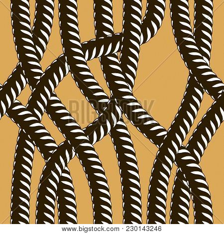 Rope Seamless Pattern, Trendy Vector Background. Tangled Cord Stylish Illustration. Usable For Fabri