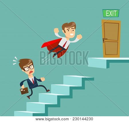 Super Businessman In Red Cape Flying Pass Another Businessman Climbing Stairs. Business Competition