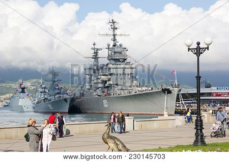 Russia, Novorossiysk - May 9, 2014: Embankment In Novorossiysk. Artillery Cruiser